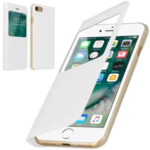 COQUE - BUMPER Coque iPhone 6-6S Rabat Clapet Fenêtre Blanc
