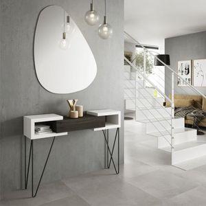 CONSOLE Console + miroir Bois blanc/Bois noir - SOLDIA - L