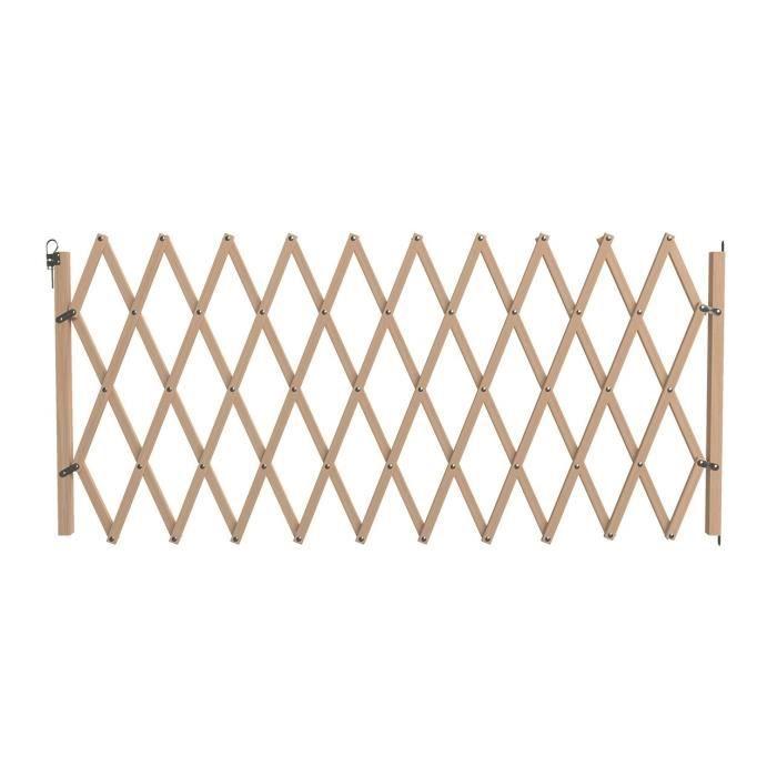 VADIGRAN Barrière en bois accordéon - 60-230 cm - Brun - Pour chiens et chats