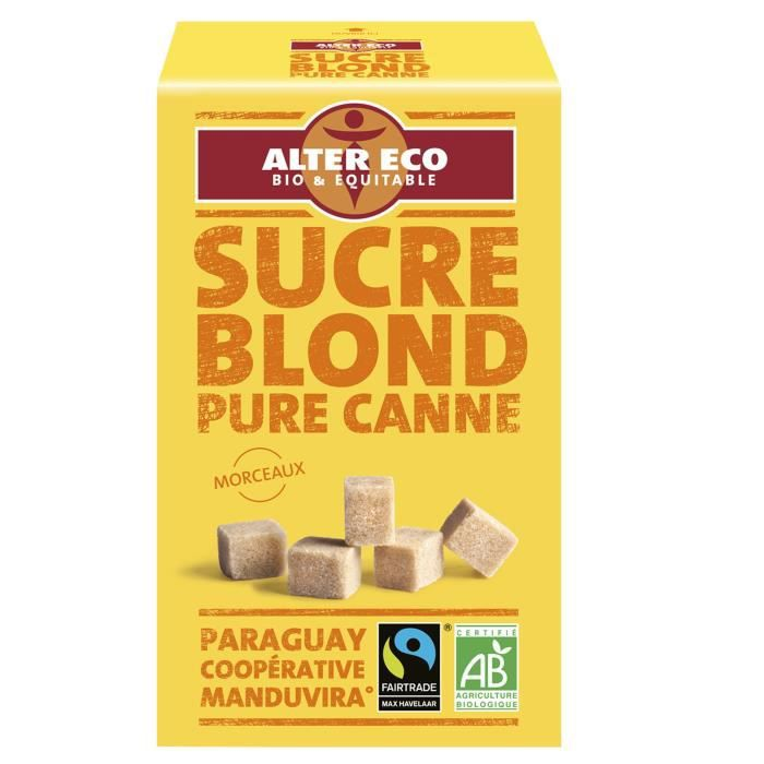 Alter eco sucre blond pure canne morceau bio 500g achat for Chambre de sucre coupon code