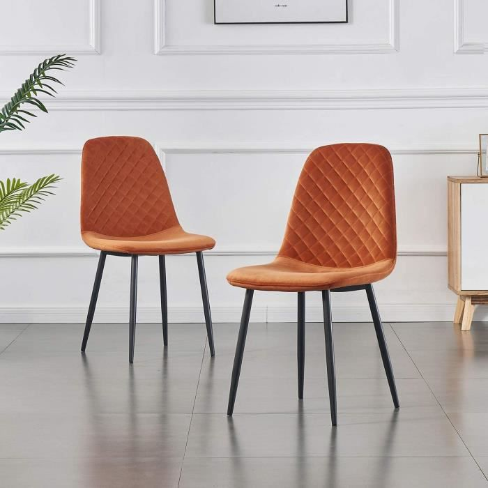 Lot de 2 chaises de salle à manger-Fauteuil avec dossier-Fauteuil style scandinave vintage en daim synthétique avec pieds en acier