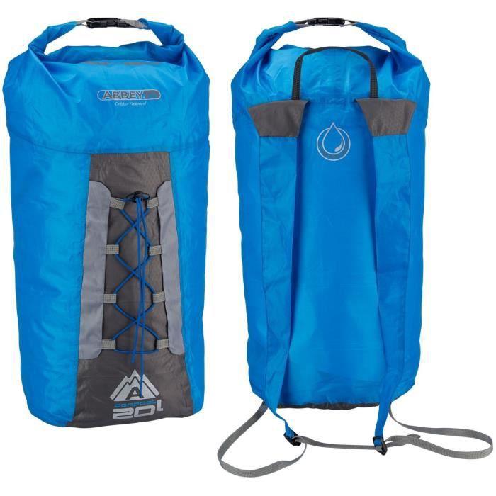 ABBEY Sac à dos compact pliable - 100% polyester indéchirable - Capacité du sac : 20 L - Poids : 90 g - Bleu