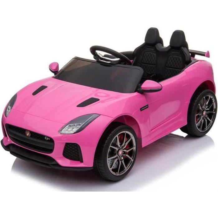 Jaguar 12v Rose - Voiture électrique pour enfant avec batterie 12v et télécommande