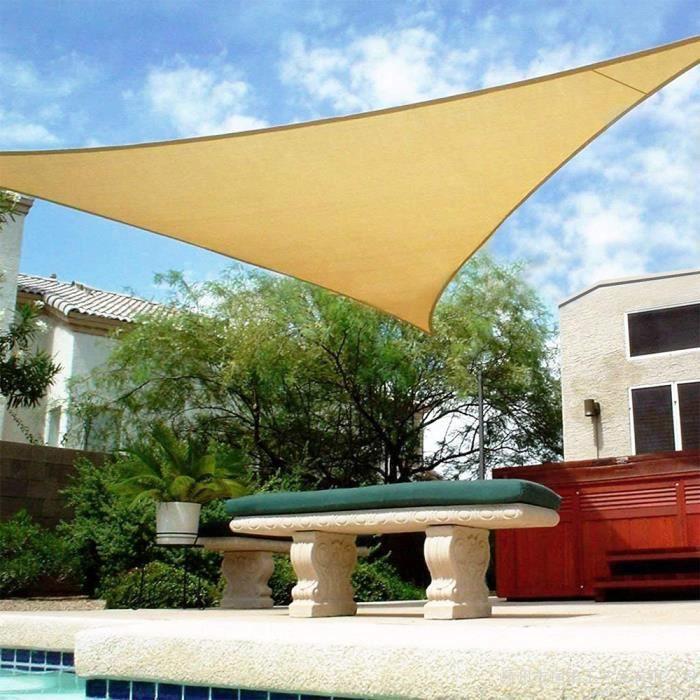 YIDS Voile d'ombrage Triangulaire en HDPE,protection contre le soleil avec protection UV pour jardin-terrasse, 3X3X3M, Beige