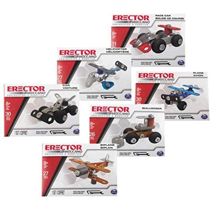 Jeu D'Assemblage PCDRW Meccano Meccano Jeu de construction (6) - Avion miniature, Bi-Plane, Hélicoptère, Bulldozer, Voiture, Course