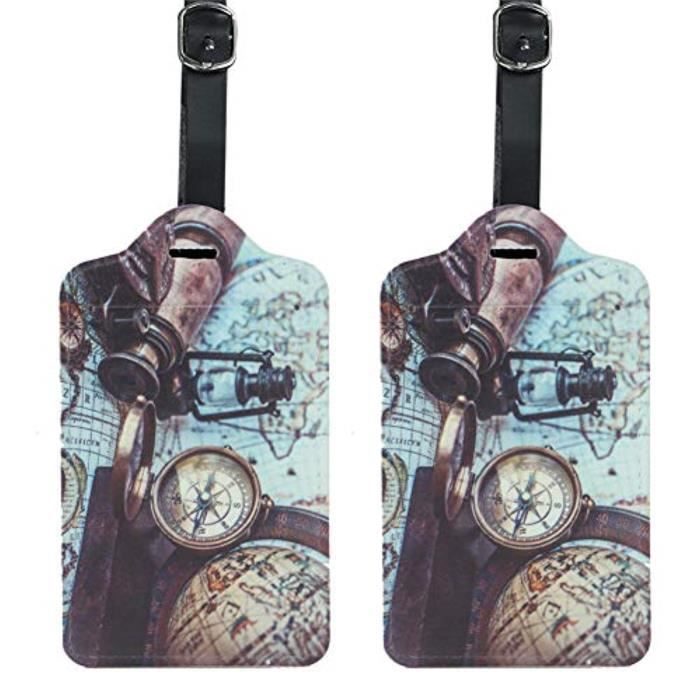Bracelet De Montre Vendu Seul HK2HM 4 Pack cuir PU Etiquettes de bagages Valise Étiquettes Sac Accessoires Voyage - Ensemble de 4 (S