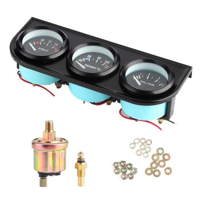 1/8 Po NPT 52mm/ 2Po 3 en1 Compteur de voiture 8-16V voltmètre 40-120 ℃ mètre de l'eau 0-7kg jauge pression d'huile