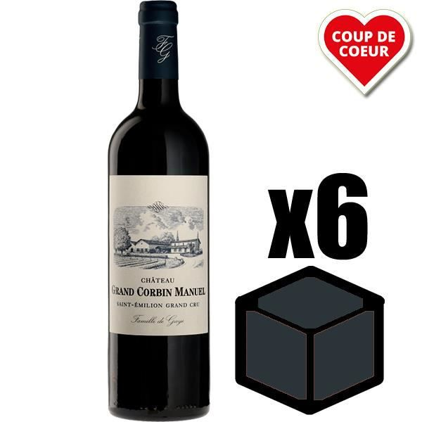 X6 Château Grand Corbin Manuel 2015 75 cl AOC Saint-Emilion Grand Cru Vin Rouge