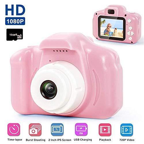 Appareil Photo Enfants,13 MéGapixels 1080P HD 2.0 Pouces ÉCran Couleur Appareil Photo Enfants Selfie CaméRa,avec 16GB Carte SD