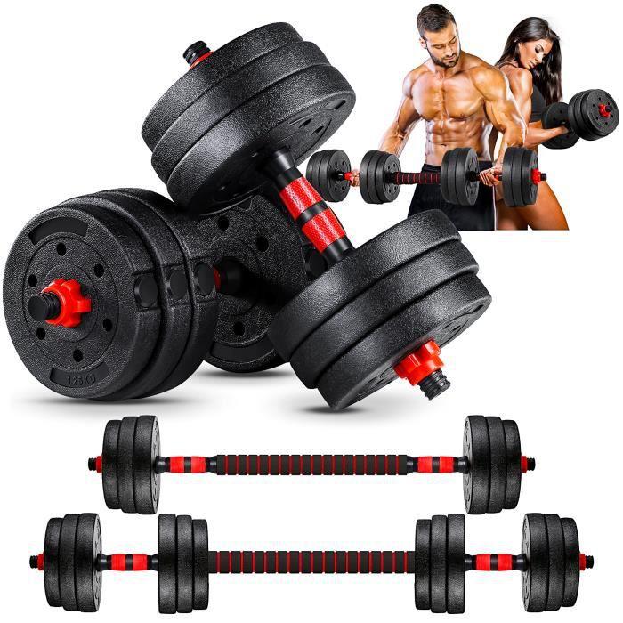 Lot d'haltères 20kg musculation réglables – poids musculation