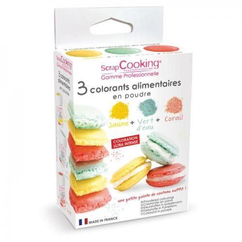 Pour colorer vos pâtisseries et vos plats, ce kit de 3 colorants artificiels alimentaires de 5g, jaune, vert d'eau et corail, sera