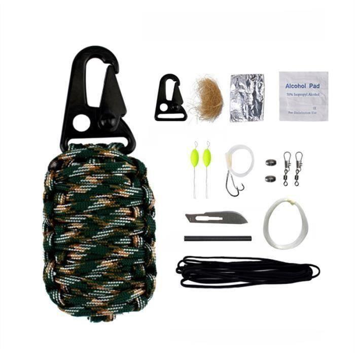 SMRT 12pcs multifonctions de plein air Voyage Saving Life Kit Préserver Sac de sauvetage d'urgence(montagne camouflage)