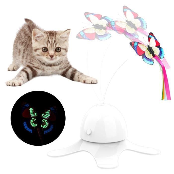 Jouet électrique automatique pour animal de compagnie, chaton rotatif, animal de compagnie, jouet interactif, amus White -WL3482