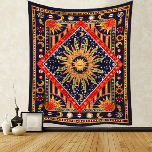 Tapisserie murale en Polyester multifonction, couverture motif Mandala indien, décoration de la maison, tapis de Yoga, p GF7929