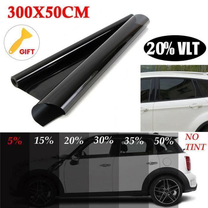 20% Film Teinté Fenêtre pour Voiture Vitre Membrane de Protection Solaire Autocollant de Voiture Noir 50*300cm