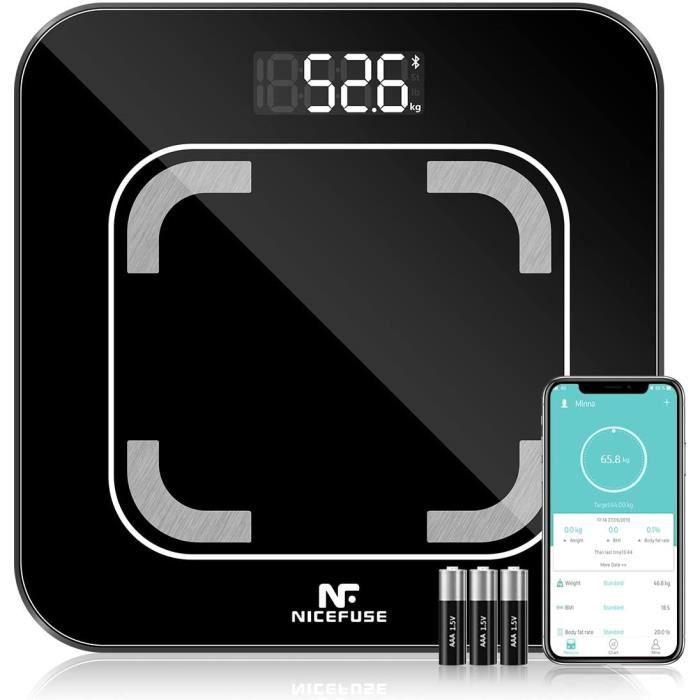Pèse Personne Impédancemètre, Balance Connectée, Pese Personne Connecté Bluetooth avec 13 Données Corporelles BMI/Graisse/Eau/Masse