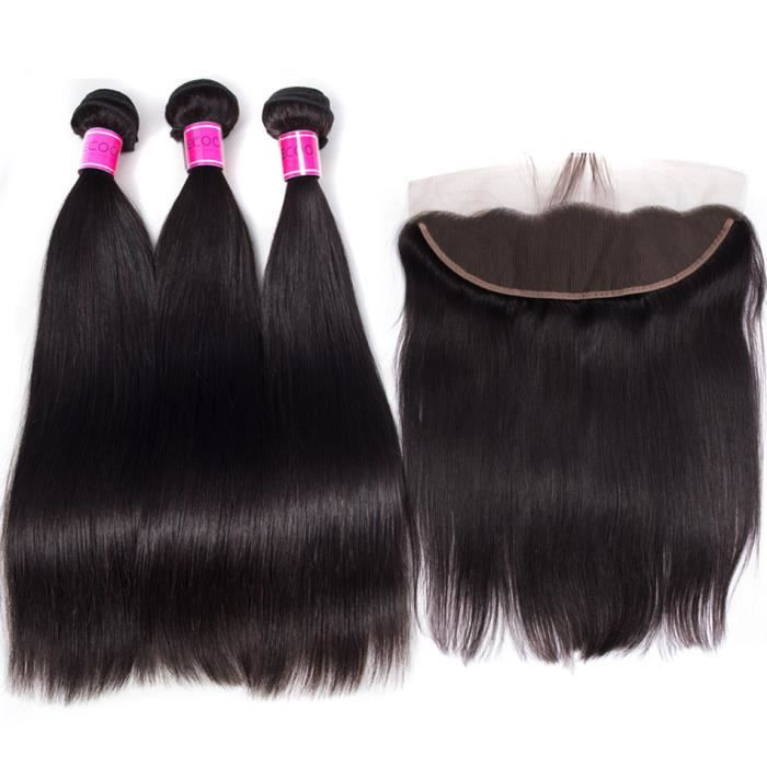 3 tissages lisse brésiliens 28 28 28 -cheveux avec 13x4 fermeture à lacet 18 -GUI1O HAIR