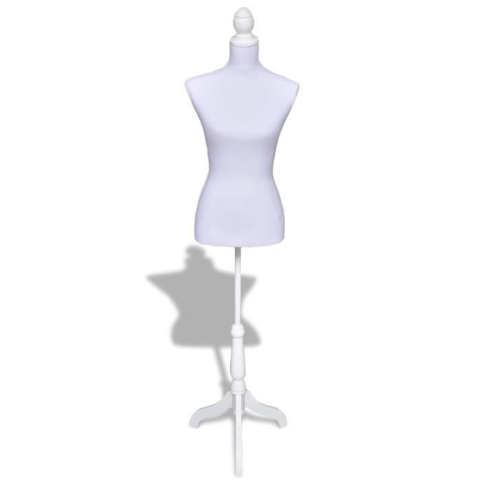 Mannequin Couture Femme - Buste Mannequin De Vitrine - Montagne Facile&Léger - Trépied Inclus - Hauteur Réglable - Blanc