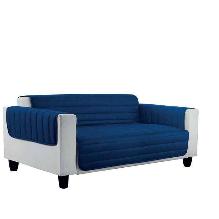 Italian Bed Linen 8058575008169 Housse de Canapé Lit en Microfibres Anti-Allergique Réversible Bleu Foncé/Gris Clair Microfibre Dou