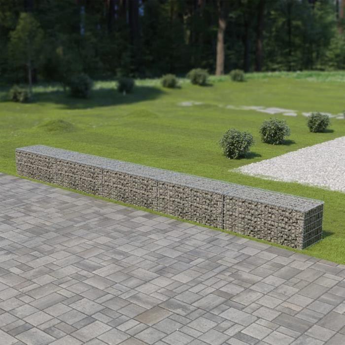 vidaXL Mur à gabion avec couvercles Acier galvanisé 600 x 50 x 50 cm