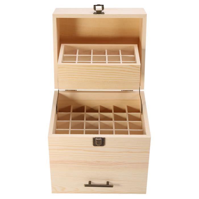 Boîte de rangement d'huile essentielle, étui en bois d'huile essentielle, polissage 59 fentes 8,5 X 7,1 X 9,8 pouces pour la