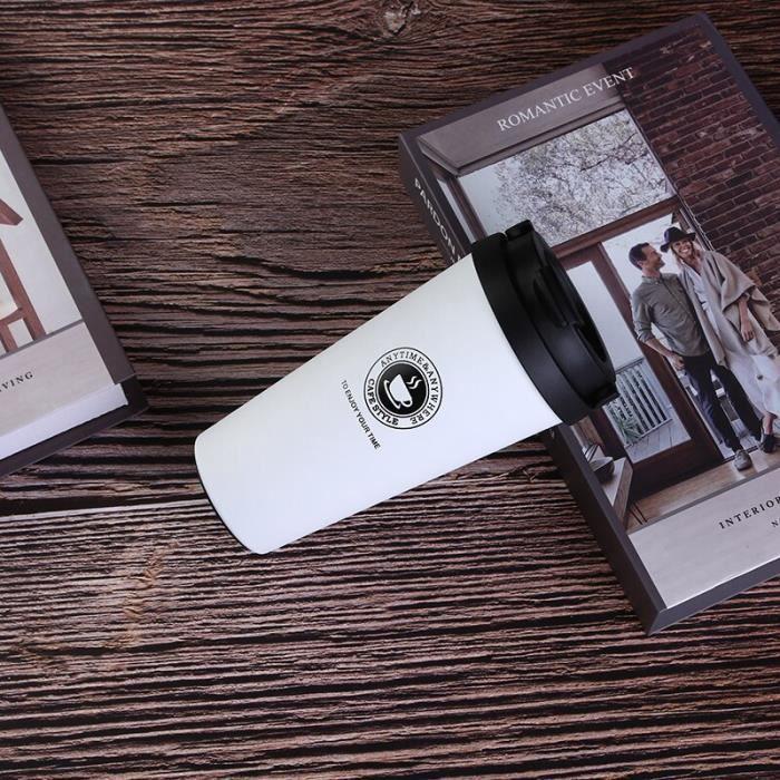 Tasses à café et mugs,Tasse à café en acier inoxydable 500ml Thermos tasse Portable café vide flacons voyage - Type WHITE-500ml