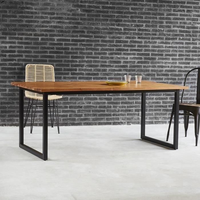 Table à manger en bois de teck et métal 8 couverts BDBD
