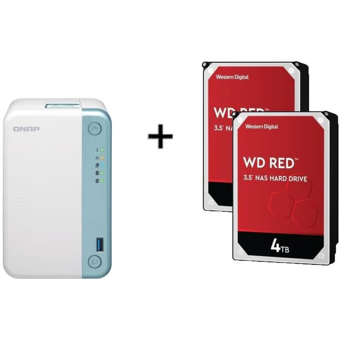 QNAP - Serveur Stockage (NAS) - TS-251D-2G - 2 Baies + WD Red™ - 2 Disque dur Interne NAS - 4To - 5 400 tr/min - 3.5- (WD40EFAX)