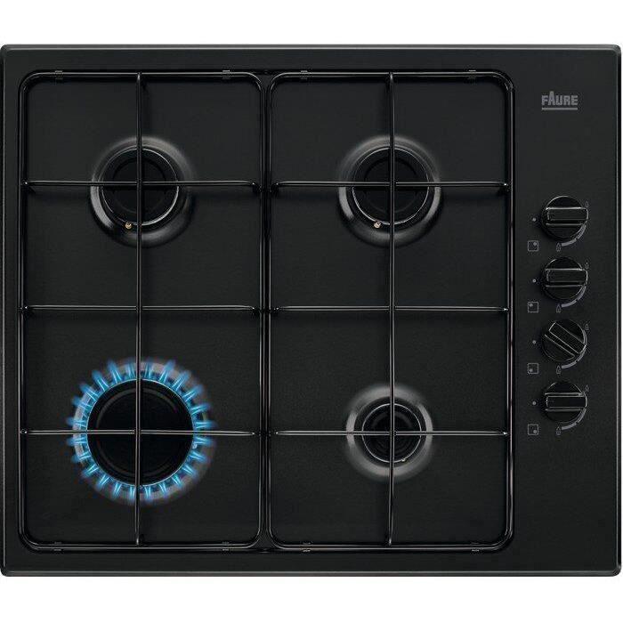 FAURE FGH62414BA - Plaque de cuisson gaz - 4 foyers - 8000W - L55 x P47 x H4,3cm - Noir