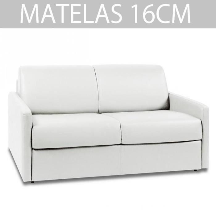 Canapé convertible EXPRESS 2/3 places en cuir et polyuréthane blanc - Couchage 120cm - Epaisseur matelas 16cm - SUN EDITION CUIR