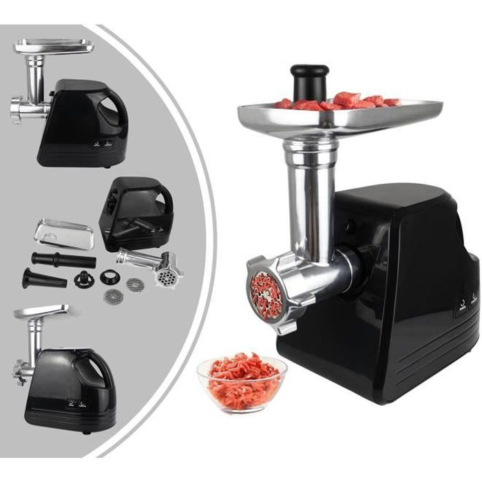 Hachoir à Viande, Machine à Saucisses, avec plaques pour hachoir, Noir, Puissance maximale: 1600 W