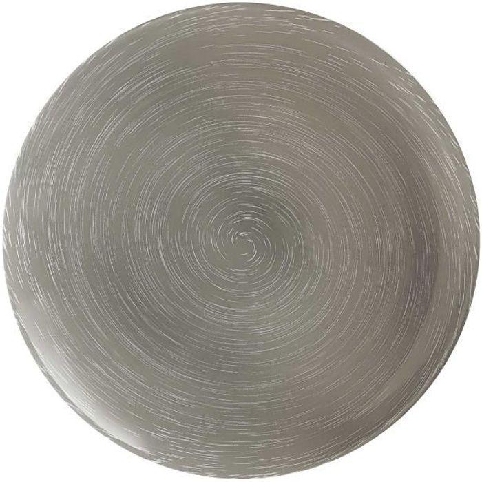 Assiette plate ronde en verre Gris - D. 25 cm - Lot de 6 STONEMANIA GREY