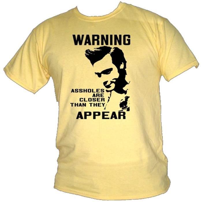 Ace Ventura - Jim Carrey - Avertissement, Trous Du Cul Film Citation T-Shirt (Petit, Jaune Brume)