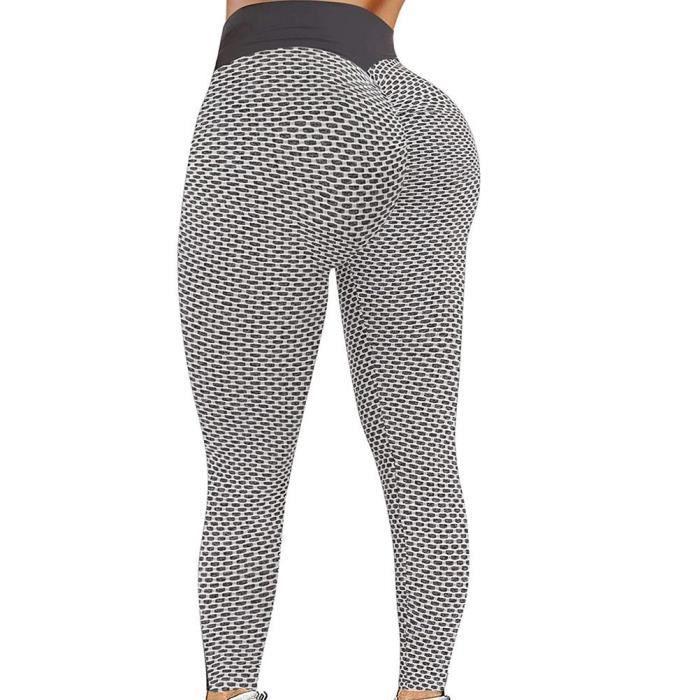 Femme Legging Sport Anti Cellulite Push Up Yoga Pants Pantalon de Compression avec Poches Collant Fitness Haute Taille - Gris