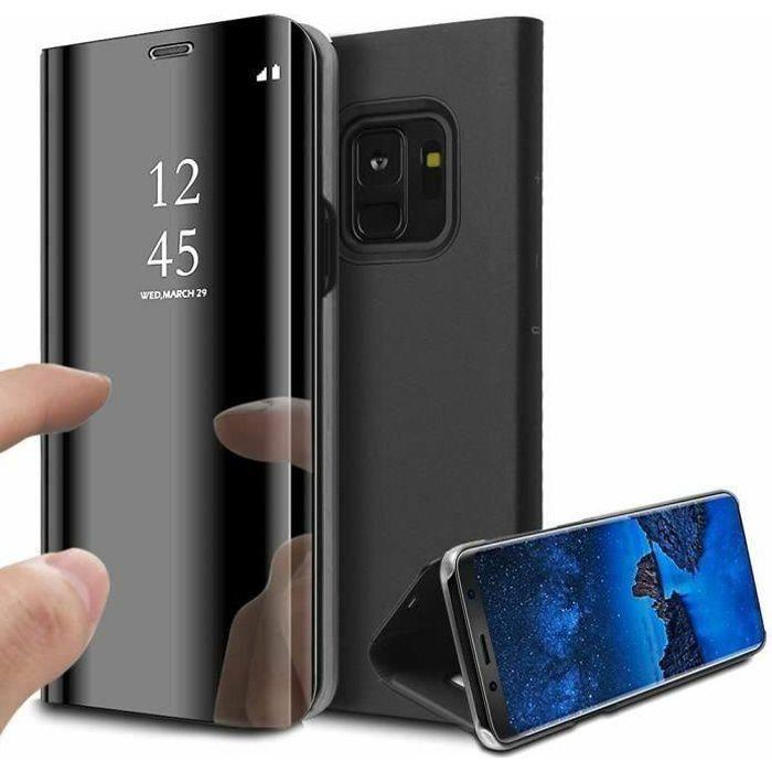 Coque Galaxy S9 Rabat Transparent Support Noir