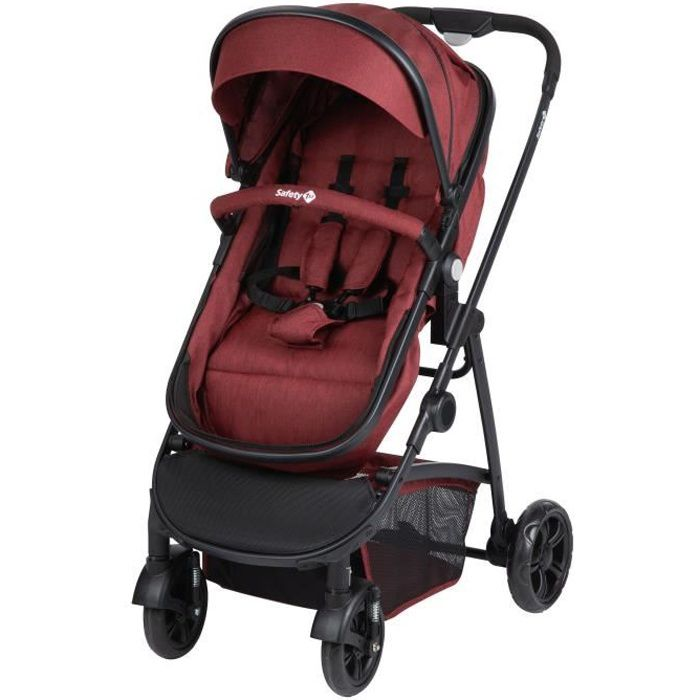 SAFETY FIRST Poussette Hello 2en1 (Convertible Nacelle Non Securitaire) + Adaptateurs Cabriofix Et Citi Ribbon Red Chic