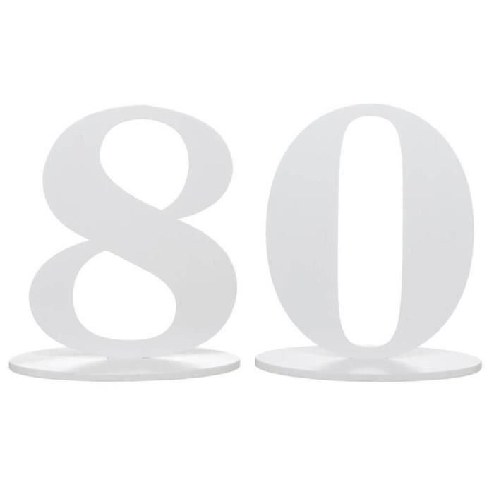 R/5051 - 1 Centre de table anniversaire blanc 80 ans en bois.