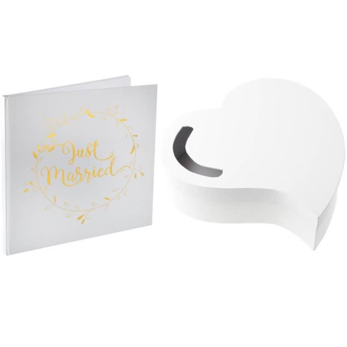 1 Pack Urne mariage coeur et livre d'or Just Married R/3841-6325