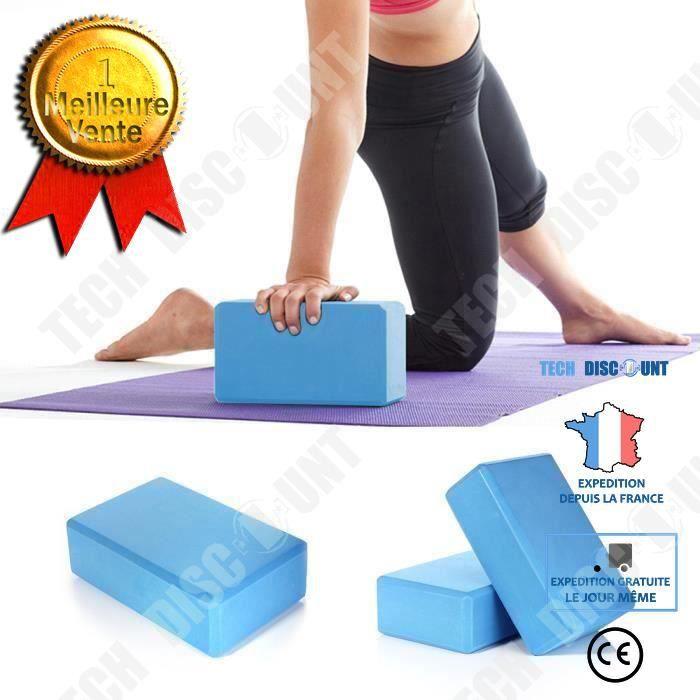 TD® EVA Bolc de yoga Brique BLEU Outil Accessoire Yoga pour Exercice Fitness Masculation Mousse Domicile Santé