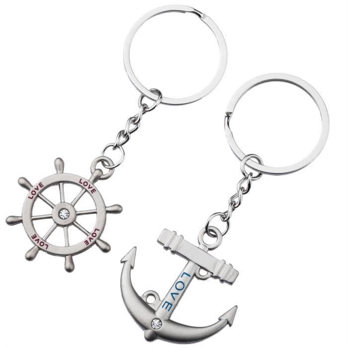 TRIXES Jolis Porte-clés Cadeaux Romantiques Argentés Ancre et Gouvernail de Marine Chaîne de Bateau Love