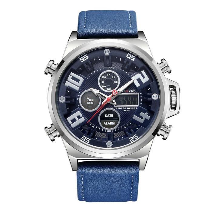 Weide Hommes montres à quartz analogique Noir cuir véritable Chronomètre Sports Business militaire Montre-bracelet 3089