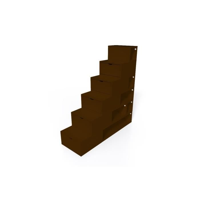 escalier cube de rangement hauteur 150 cm mdf weng. Black Bedroom Furniture Sets. Home Design Ideas