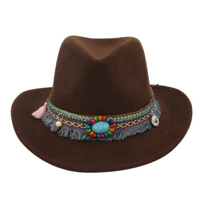 CHAPEAU - BOB chapeau caféHiver hommes et chapeau de cowboy tiss