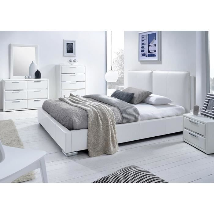 lit simili blanc avec t te de lit exia 160 x 200 achat vente structure de lit lit simili. Black Bedroom Furniture Sets. Home Design Ideas