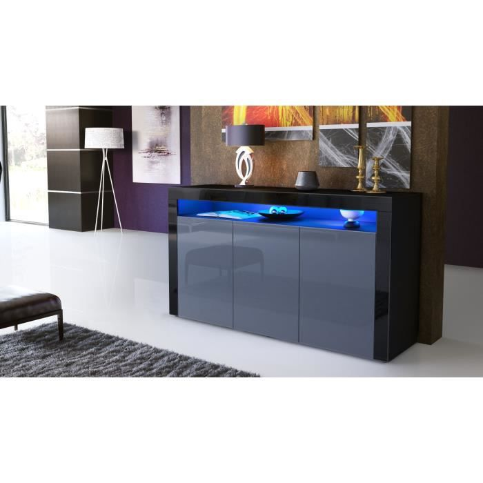 bahut design laqu noir et gris avec led achat vente. Black Bedroom Furniture Sets. Home Design Ideas