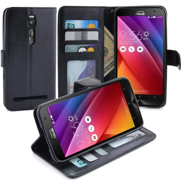 asus zenphone 2 5 5 housse etui coque cuir haut de gamme avec porte carte bleu sur le rabat. Black Bedroom Furniture Sets. Home Design Ideas