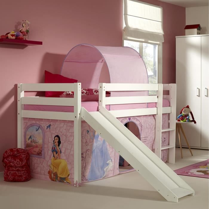 lit sur lev avec toboggan et tente de jeu disney princesse achat vente lit mezzanine. Black Bedroom Furniture Sets. Home Design Ideas