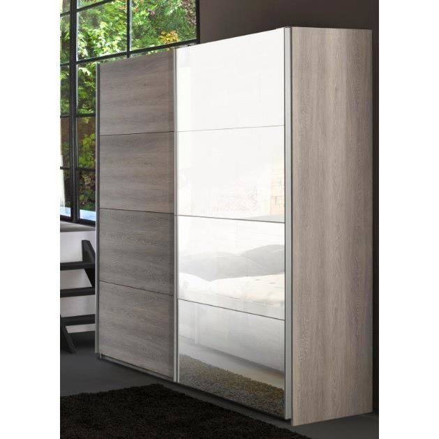 armoire adulte 2 portes coulissantes 230 cm virginia l 230 x p 65 x h 223 cm achat vente. Black Bedroom Furniture Sets. Home Design Ideas
