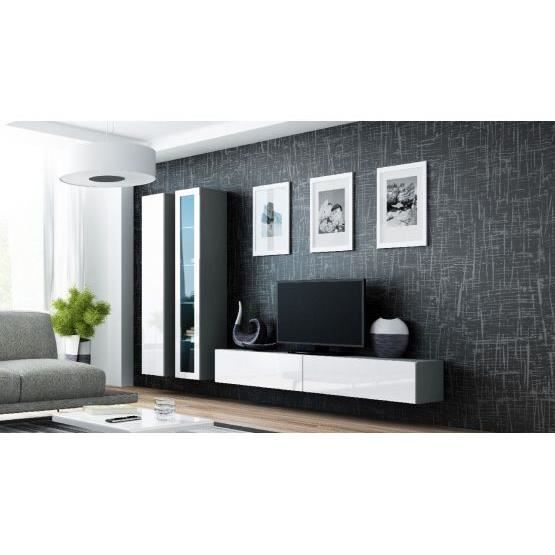 ensemble meuble tv design viko gris et blanc achat vente meuble tv ensemble meuble tv design. Black Bedroom Furniture Sets. Home Design Ideas