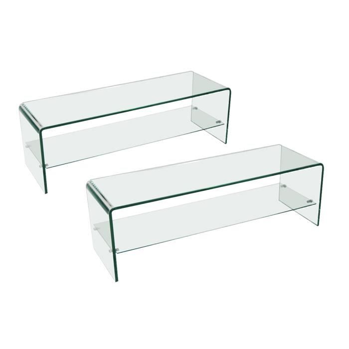 Lot de 2 meubles tv verre transparent vitra achat for Meuble tv en verre transparent